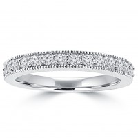 0.65 ct Ladies Round Cut Diamond Wedding Band Ring With Millgrain Edge