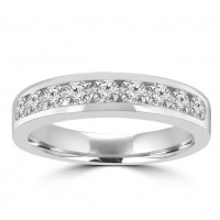 0.75 ct Ladies Round Cut Diamond Wedding Band In White Gold