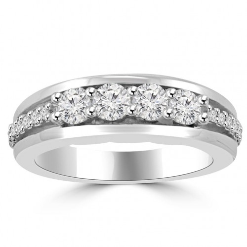 0.85 Ct Round Cut Diamond Wedding Band Ring In Prong Setting