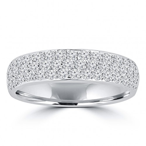 1.55 ct Ladies Round Cut Diamond Wedding Band Ring in 14 kt White Gold