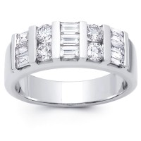 2.00 ct Baguette and Round Cut Diamond Wedding Band Ring