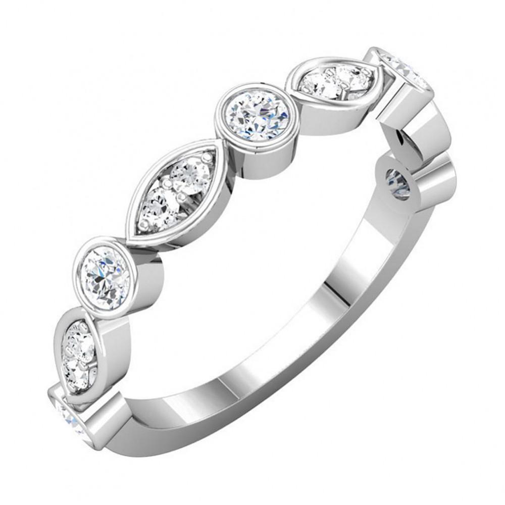 0.50 Ct Ladies Round Cut Diamond Wedding Band Ring Marques