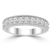 1.10 ct Ladies Round Cut Diamond Wedding Band Ring With Millgrain Edge