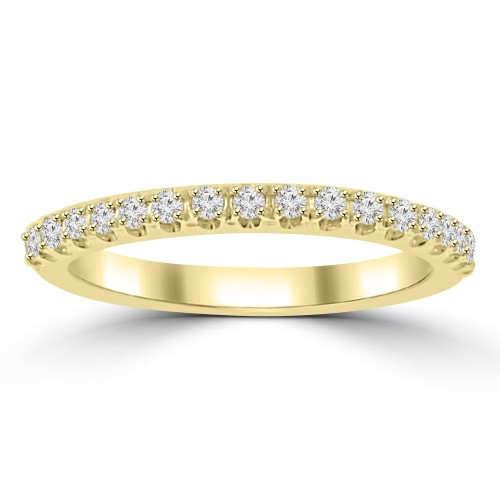 0.25 ct Ladies Round Cut Diamond Wedding Band in 4 Prong Setting Yellow Gold