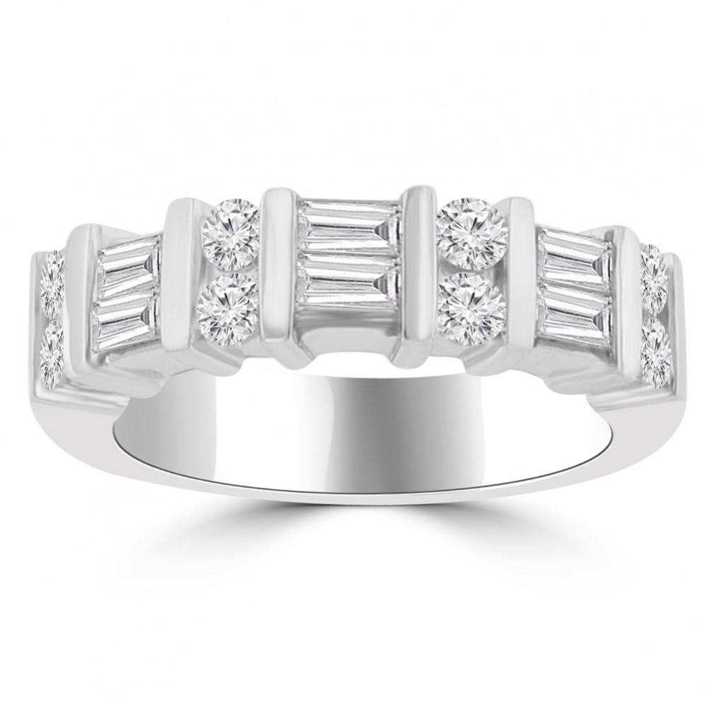 1ct Diamond Bands: 1.50 Ct Baguette And Round Cut Diamond Wedding Band Ring