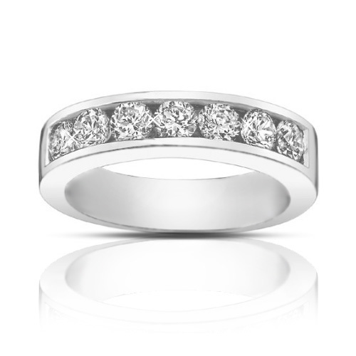 1.25 Ct Round Cut Diamond Wedding Band Ring In Channel Setting