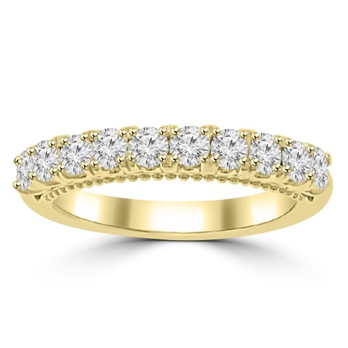 0.80 ct Ladies Round Cut Diamond Wedding Band in Prong Setting 14 kt Yellow Gold