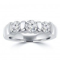 1.15 ct Round Cut Diamond Wedding Band Ring in 14 kt White Gold