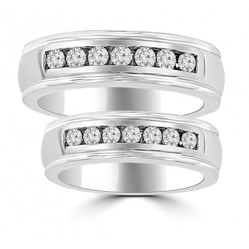 1.06 ct His & Hers Round Cut Diamond Wedding Band Ring Set in 14 kt White Gold