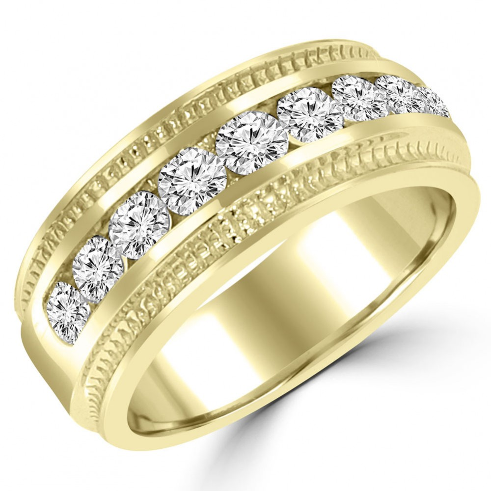 0.75 Ct Men's Round Cut Diamond Wedding Band Ring In