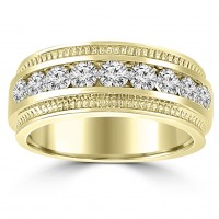 0.75 ct Men's Round Cut Diamond Wedding Band Ring in Channel Setting