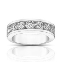 1.75 Ct Round Cut Diamond Wedding Band Ring In 14 kt White Gold