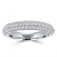 1.25 ct Ladies Three Row Round Cut Diamond Wedding Band Ring in 14 kt White Gold