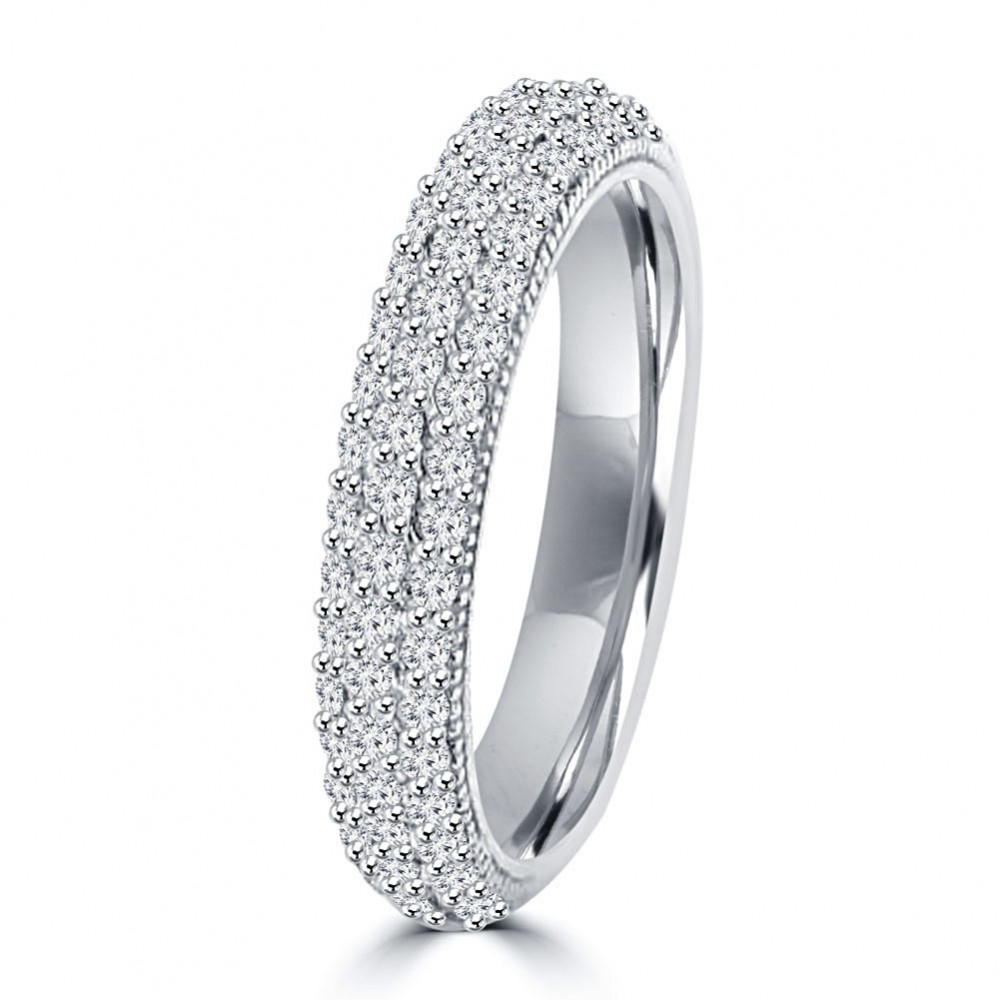 3 25 Ct Las Round Cut Diamond Engagement Ring Set In 14 Kt White Gold Pave