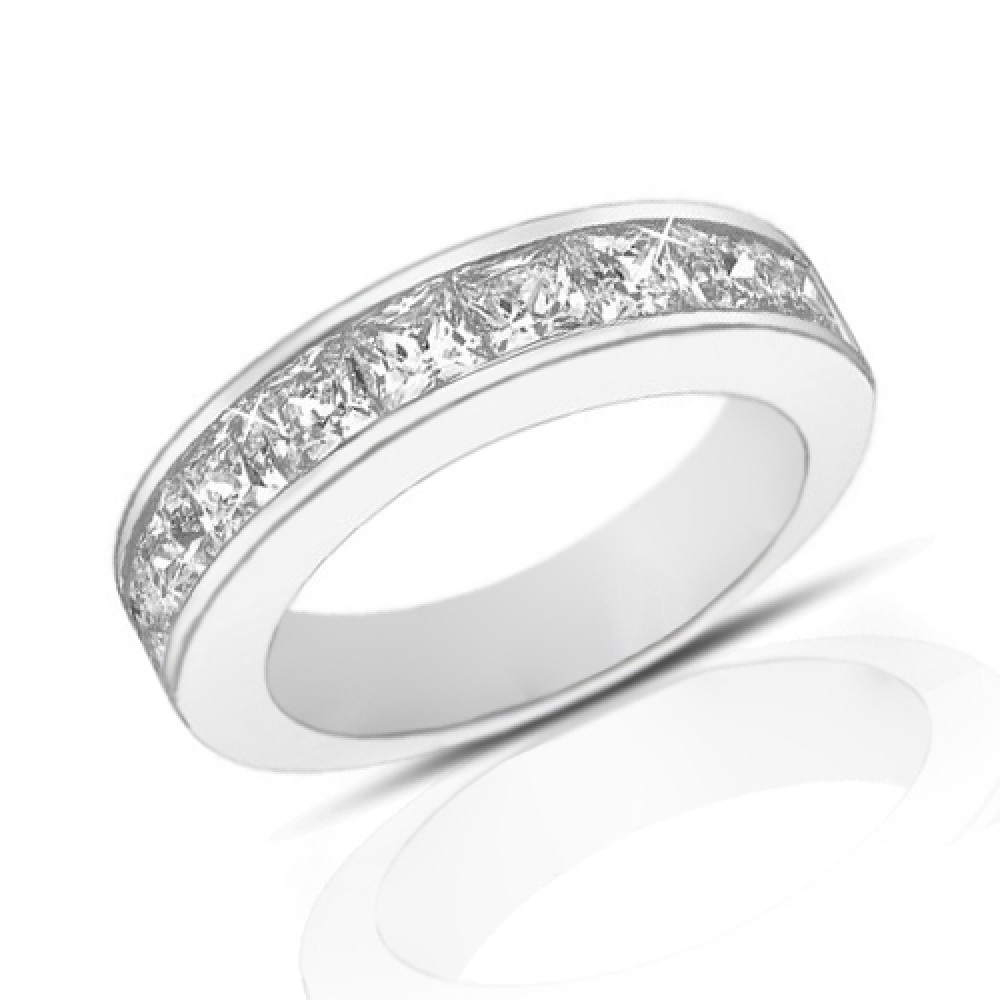 2.00 Ct Princess Cut Diamond Wedding Band Ring In Channel
