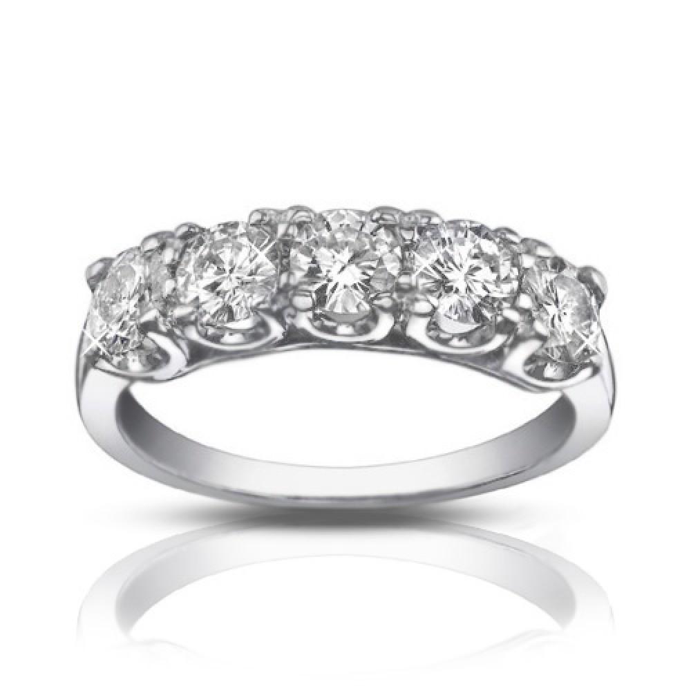 25 ct five stone round cut diamond wedding band ring
