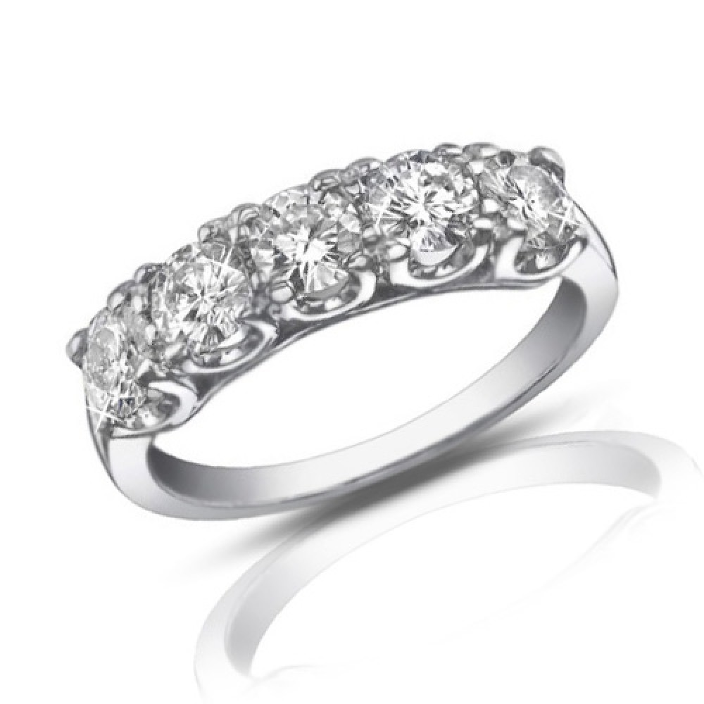1 25 Ct Five Stone Round Cut Diamond Wedding Band Ring