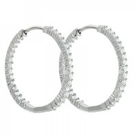 3.25 ct Round Cut Diamond Inside Outside Hoop Earrings