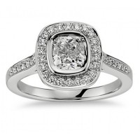 1.50 Ct Ladies Cushion Micro Pave Halo Diamond Engagement Ring