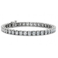 7.00 ct Ladies Round Cut Diamond Tennis Bracelet in 14 kt White Gold