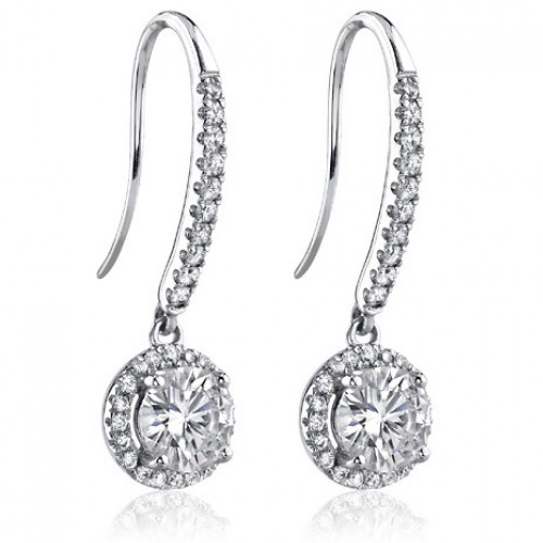 1.50 ct Ladies Round Cut Diamond Drop Earrings in White Gold
