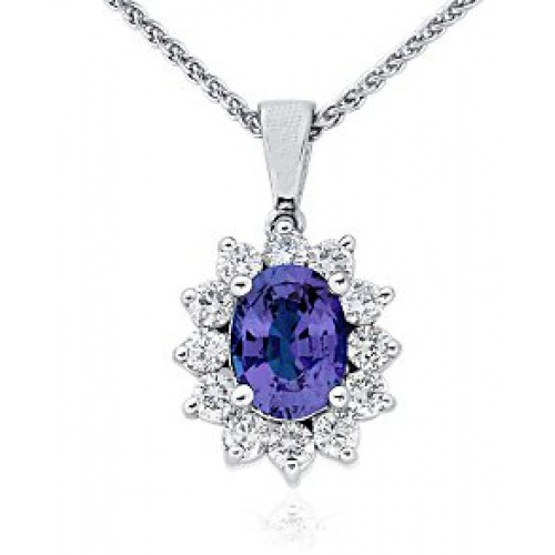 3.00 ct Ladies Sapphire and Diamond Pendant