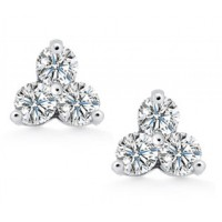 1.50 ct Ladies Round Cut Diamond Stud Earrings In Push Back