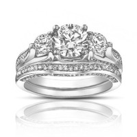 2.50 Ct TW Round Diamond Engagement Ring With Wedding Band