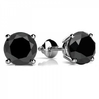 3.00 ct Round Cut Black Diamond Studs Earrings 14kt White Gold