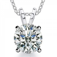 1.00 Ct Ladies Round Cut Cubic Zirconia Solitaire Pendant Necklace