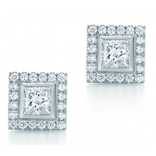 2.00 ct ttw Princess Cut Diamond Stud Earrings With Accented Diamonds