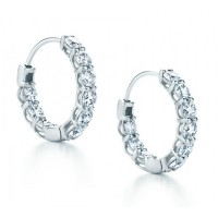 2.25 ct Ladies Round Cut Diamond Hoop Huggie Earrings