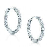 4.00 ct ttw Ladies Round Cut Diamond Inside Outside Hoop Earrings