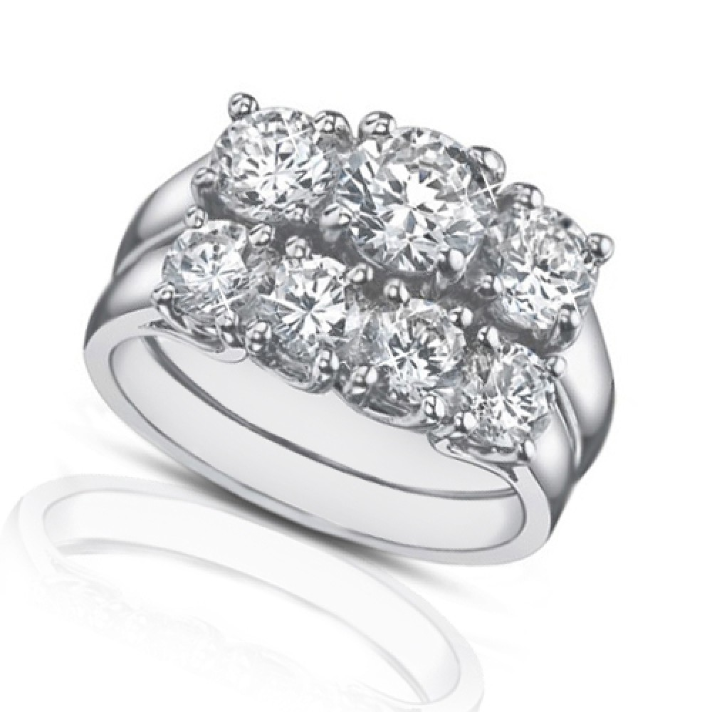 2 25 Ct Three Stone Round Diamond Engagement Ring With Wedding Band