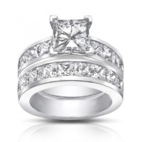4.50 Ct Princess Cut Diamond Engagement Ring Set In Channel Setting