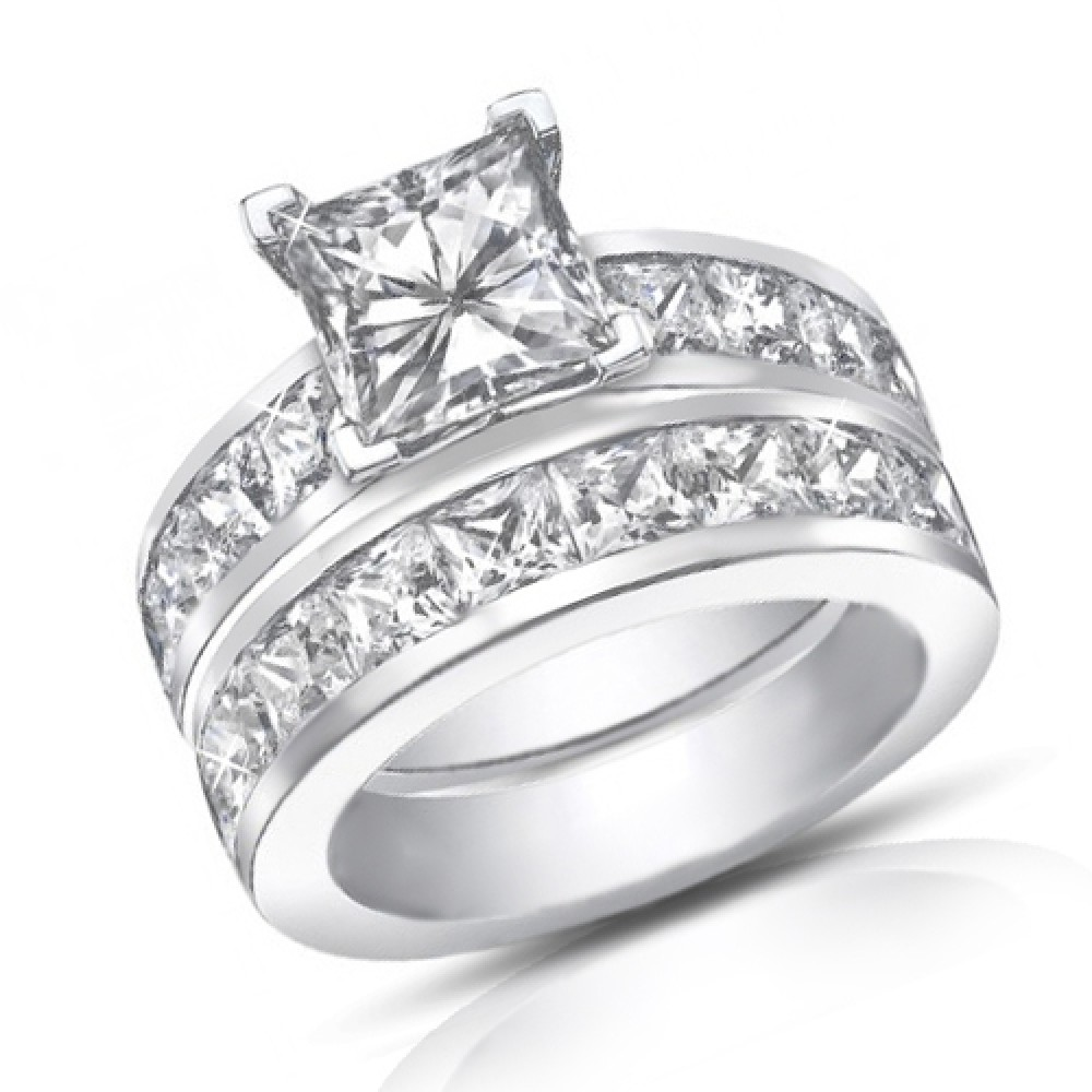 4.50 Ct Princess Cut Diamond Engagement Ring Set In