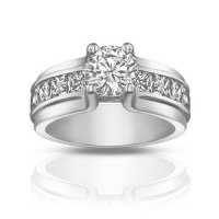 1.50 ct Ladies Round Cut Diamond Engagement Ring With Princess Cut's On the Side