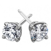 2.00 ct Round Cut Cubic Zirconia Stud Earrings in Push Back