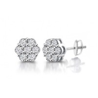 2.00 ct Flower Set Round Cut Cubic Zirconia Stud Earrings in Screw Back