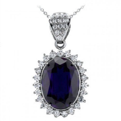11.83 Ct Ladies Oval Shape Sapphire & Round Cut Diamond Pendant Necklace