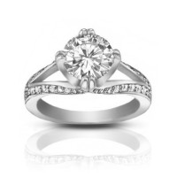 1.75 ct Ladies Round Cut Diamond Engagement Ring In 14 kt White Gold