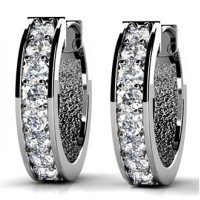 1.50 ct Round Cut Diamond Hoop Huggie Earrings in Prong Setting