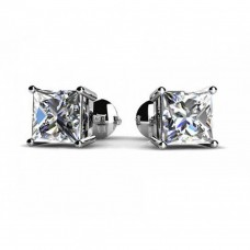 1.00 ct Princess Cut Cubic Zirconia Stud Earrings in Screw Back