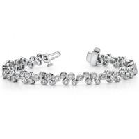 3.50 ct Ladies Round Cut Diamond Tennis Bracelet In Bezel Setting In 14 kt White Gold