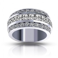 3.00 ct Ladies Three Row Round And Princess Cut Diamond Anniversary Wedding Band