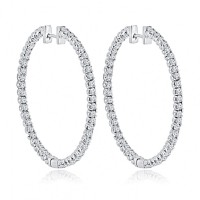 4.00 ct Round Cut Diamond Inside Outside Hoop Earrings