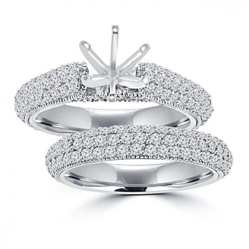 2.50 ct Ladies Round Cut Diamond Semi Mounting Set Engagement Ring in 14 kt White Gold