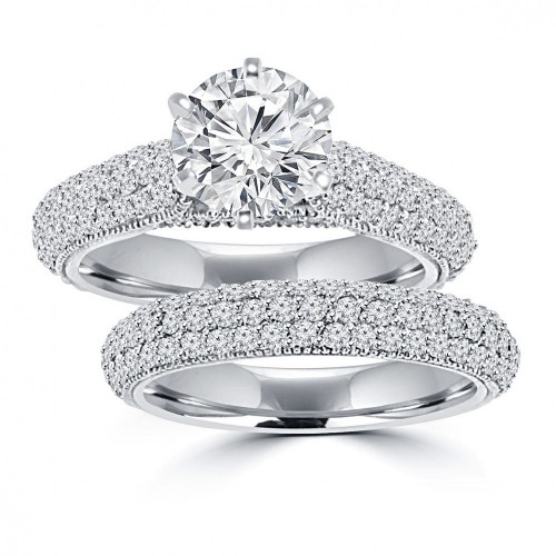 3.25 ct Ladies Round Cut Diamond Engagement Ring Set in 14 kt White Gold Pave Set