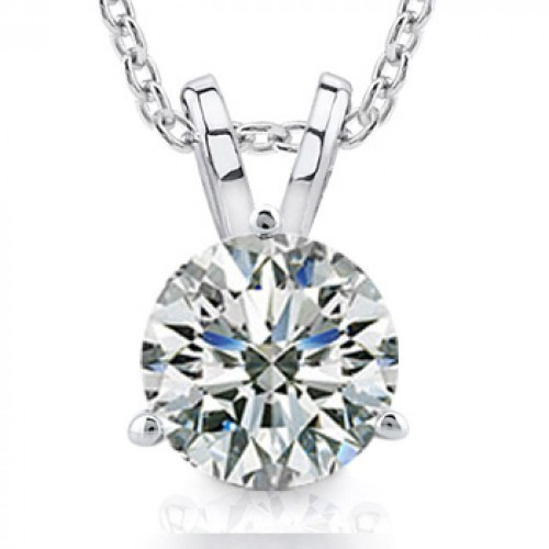1.00 Ct Size Ladies Round Cut Cubic Zirconia Soitaire Pendant Necklace In Martini Setting