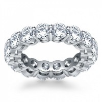 5.00 ct Ladies Round Cut Cubic Zirconia Eternity Wedding Band in Silver